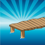 Pier. Illustration of a pier isolated on a blue sunrise Royalty Free Stock Photos