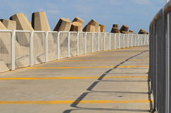 Pier. Pier for walking people at the marina of Herzlia (Israel stock image