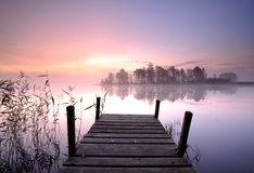 Pier. Morning mist at a jetty Royalty Free Stock Images