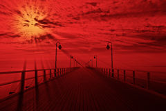 Pier. Sunrise at the pier in Orlowo, Poland royalty free stock image
