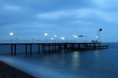Pier. Evening pier on the Mediterranean Sea Stock Photos