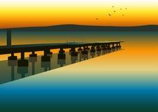 Pier. Illustration of pier at evening scene Stock Photo