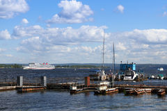 Pier. On the river Volga Stock Images