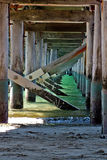 The Pier. Under Hervey Bay's famos Pier, the old shipping gateway to Queensland, Australia until the ships became to large to enter the waters in Hervey Bay Stock Photos