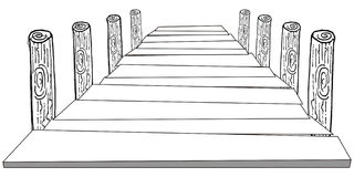 Pier. Art illustration in black and white: a pier Royalty Free Stock Photos