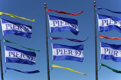 Pier 39 - Fisherman's Wharf flags Royalty Free Stock Photos