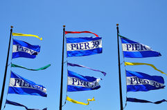 Pier 39 flags in San Francisco Royalty Free Stock Photography