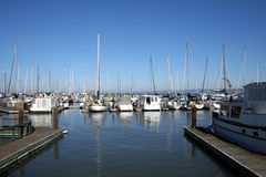 Pier 39 and Yachts. Yachts moored at the Pier 39 marina complex in San Francisco, California, USA Stock Images