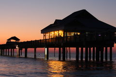 Pier 60 Sunset. Pier 60 in Clearwater Beach, Florida with the sun setting Royalty Free Stock Photo