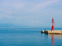 Pier in Adriatic Sea. View from quay of Opatija, a tourist town on Croatian coast Stock Photography