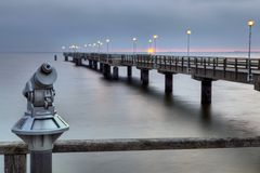 Pier in Ahlbeck. Ahlbeck at Baltic Sea on Usedom Island,Mecklenburg- Vorpommern,Germany Stock Photo