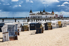 The pier in Ahlbeck on the island Usedom Stock Photo