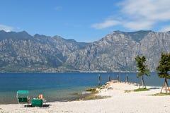 Pier Albergo Sanremo am Garda See in Italien Stockbilder