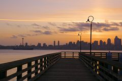 Pier at Alki beach Stock Photo