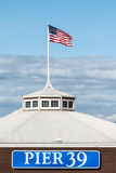 Pier 39 with american flag Stock Photos