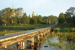 Pier in ancient russian town Kargopol Royalty Free Stock Images