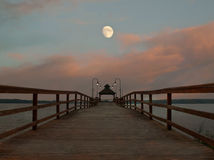 Free Pier And Moon Scene Stock Images - 20741354