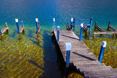 Pier on Annecy lake Stock Photo