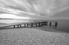 Pier. Area(Molo) taken in Sopot, Poland. Black and White stock photos