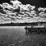 The pier. Artistic look in black and white. Royalty Free Stock Images