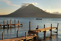 Pier on the Atitlan Lake Royalty Free Stock Photos