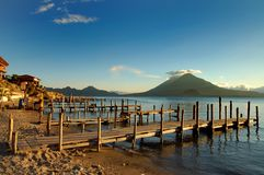 Pier on the Atitlan Lake Royalty Free Stock Photography