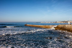 Pier on Atlantic Ocean in Estoril Royalty Free Stock Photo