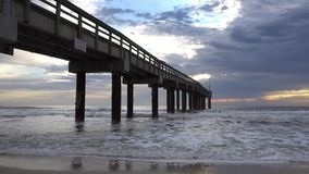 Pier on Atlantic Ocean stock video footage