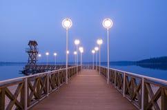 Pier auf Pogoria See in Dabrowa Gornicza stockbild