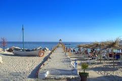 Pier on Balchik beach Bulgaria Stock Image