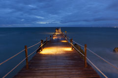 Pier in Bali. A pier at dusk at the Ayana resort in Bali, Indonesia stock photo