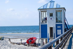 Pier Baltic sea beach. Beautiful landscape seaside, small building and pier at Baltic sea Royalty Free Stock Photos
