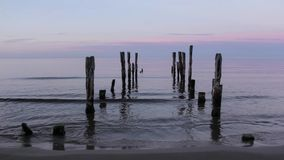 The pier on baltic sea, Melnsils, stock video