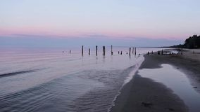 The pier on baltic sea, Melnsils, stock video footage