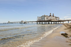 Pier of Baltic Sea resort Sellin, view from the beach Royalty Free Stock Photos