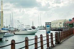 Pier Barbados Island Capital Yachten und Boote lizenzfreie stockfotos