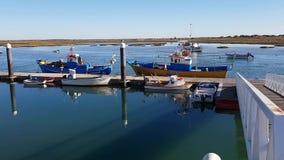 Pier Bay, muelle en la ciudad de Santa Luiza, Tavira Portugal almacen de metraje de vídeo