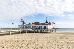Pier and Beach of Ahlbeck at baltic Royalty Free Stock Photography