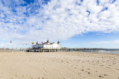 Pier and Beach of Ahlbeck at baltic Stock Image