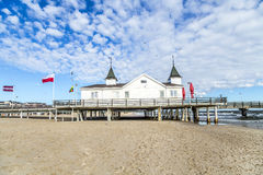 Pier and Beach of Ahlbeck at baltic Stock Photo