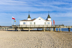 Pier and Beach of Ahlbeck at baltic Stock Photography