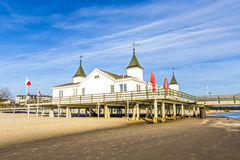 Pier and Beach of Ahlbeck at baltic Royalty Free Stock Photos