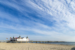 Pier and Beach of Ahlbeck at baltic Stock Photos
