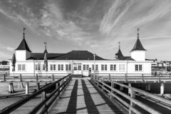 Pier and Beach of Ahlbeck at baltic Sea on Usedom Island. Mecklenburg- Vorpommern,Germany royalty free stock images