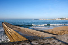 Pier and Beach by the Atlantic Ocean in Cascais Stock Photos