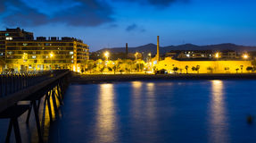Pier at beach of Badalona  in evening Royalty Free Stock Image