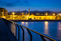 Pier at beach of Badalona  in evening Stock Photography