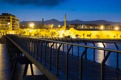 Pier at beach of Badalona  in night. Catalonia Stock Image