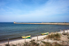 Pier and Beach in Hel Sea Side Town in Poland Stock Photography