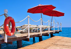 Pier beach hote Stock Photography